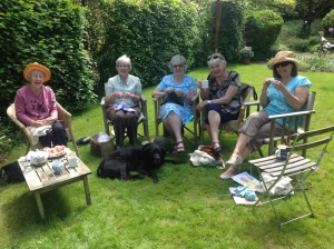 Knitting in Helen's garden