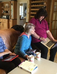 Gill and Liz with the laptop