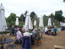 Coffee and cake outside the Orangery overlooking the vegetable garden.